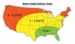Motor Freight Delivery Times Map