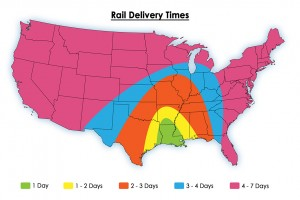 Rail Delivery Times Map